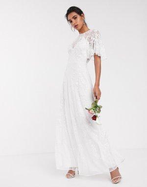 Свадебное платье с рукавами клеш, вышивкой и бусинами -Белый ASOS EDITION