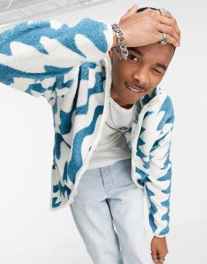 Плюшевая oversized-куртка с зигзагообразным принтом -Разноцветный ASOS DESIGN