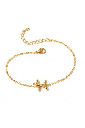 Золотистый браслет с фигуркой собаки Aqua. Цвет: золотой
