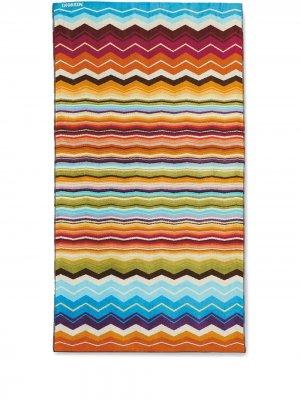 Пляжное полотенце Hugo с принтом шеврон Missoni Home. Цвет: оранжевый
