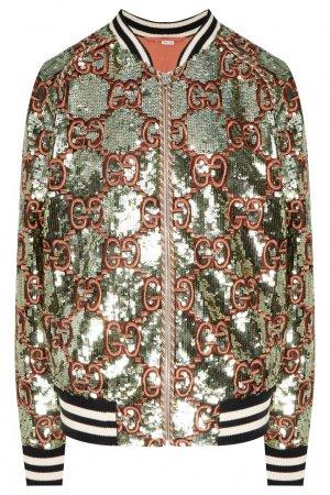 Бомбер с пайетками и вышивкой GG Gucci. Цвет: зеленый