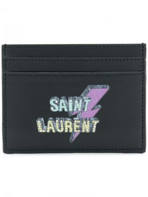 Визитница с логотипом Eclair Saint Laurent. Цвет: черный
