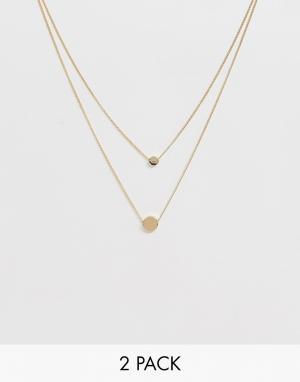 2 золотистых ожерелья с дисками -Золотой ASOS DESIGN