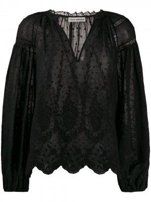 Блузка с цветочной вышивкой Ulla Johnson. Цвет: черный