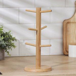 Подставка для кружек доляна bamboo, 14,5×32 см, бамбук