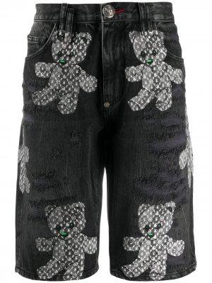 Джинсовые шорты-бермуды с принтом Philipp Plein. Цвет: черный