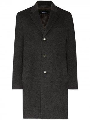 Шерстяное пальто BOSS. Цвет: серый