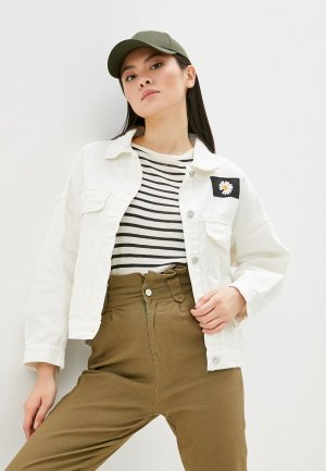 Куртка джинсовая Miss Gabby. Цвет: белый