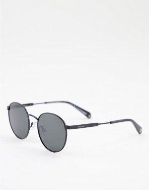 Солнцезащитные очки в стиле унисекс с круглыми линзами -Черный цвет Polaroid