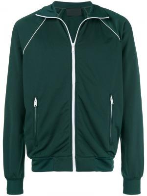 Куртка-бомбер с контрастной отделкой Prada. Цвет: зеленый