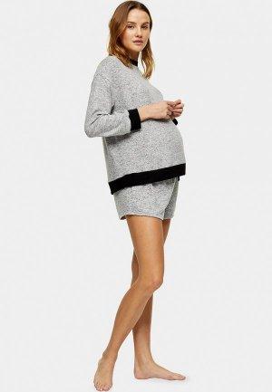 Шорты домашние Topshop Maternity. Цвет: серый