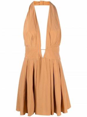 Платье мини с вырезом халтер и открытой спиной Azzaro. Цвет: нейтральные цвета
