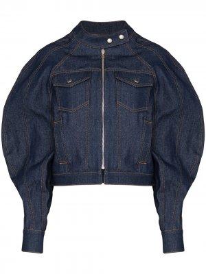 Джинсовая куртка с объемными рукавами Eckhaus Latta. Цвет: синий