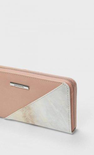 Бумажник С Молнией И Мраморным Эффектом Женская Коллекция Цвет Розового Макияжа 103 Stradivarius. Цвет: цвет розового макияжа