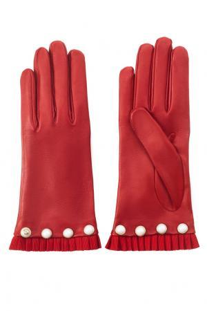 Кожаные перчатки Gucci. Цвет: красный