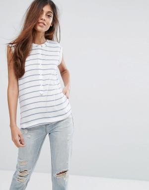 Майка на пуговицах в полоску Vita Pepe Jeans. Цвет: белый