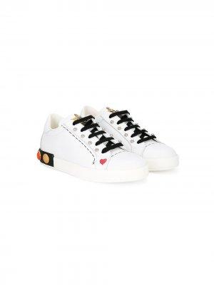 Декорированные кроссовки Dolce & Gabbana Kids. Цвет: белый