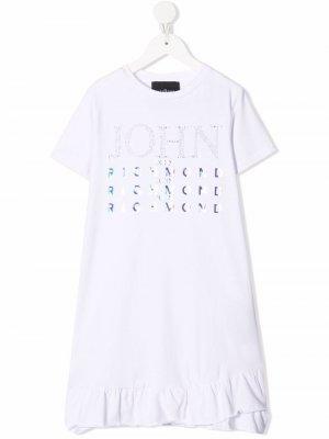 Платье-футболка с логотипом John Richmond Junior. Цвет: белый