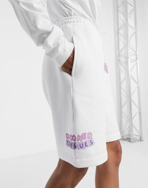 Пляжные шорты с логотипом -Белый Crooked Tongues