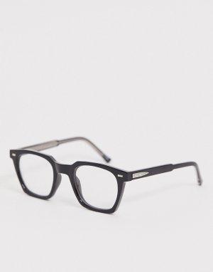 Квадратные очки с черной оправой и прозрачными стеклами -Черный цвет Spitfire