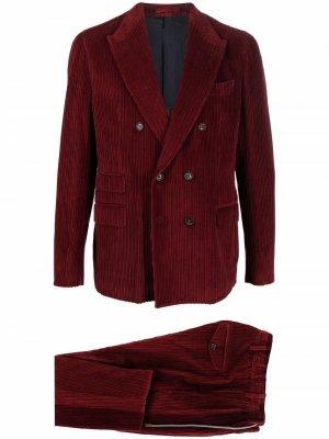 Вельветовый костюм с двубортным пиджаком Eleventy. Цвет: красный