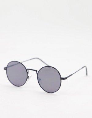 Черные круглые солнцезащитные очки -Черный цвет River Island
