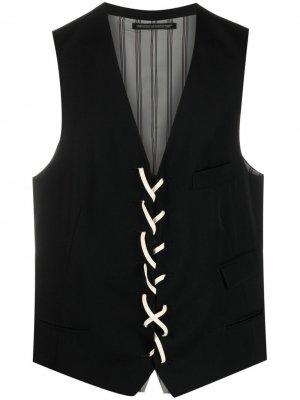 Жилет со шнуровкой Yohji Yamamoto. Цвет: черный