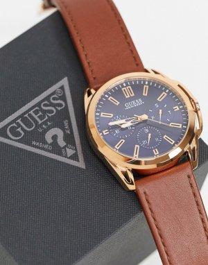 Часы с синим циферблатом -Коричневый Guess
