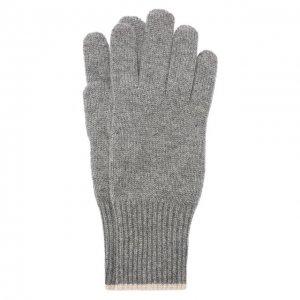 Кашемировые перчатки Brunello Cucinelli. Цвет: серый