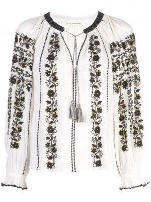 Блузка с вышивкой Ulla Johnson. Цвет: белый