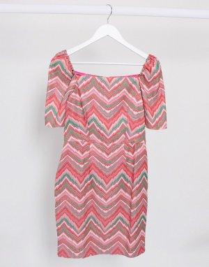 Фактурное платье мини с узором -Мульти Closet London