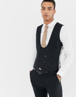 Черный приталенный жилет с добавлением шерсти Twisted Tailor