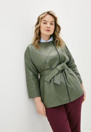 Куртка кожаная Le Monique. Цвет: хаки
