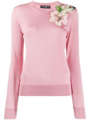 Пуловер с цветочным принтом Dolce & Gabbana. Цвет: розовый