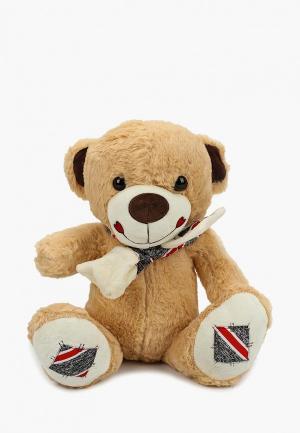Игрушка мягкая Tashatoys Медведь с шарфом в полоску. Цвет: коричневый
