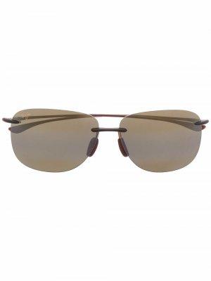Солнцезащитные очки-авиаторы Hikina Maui Jim. Цвет: коричневый