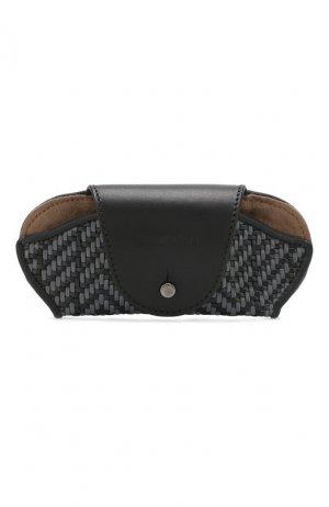 Кожаный футляр для очков Ermenegildo Zegna. Цвет: серый