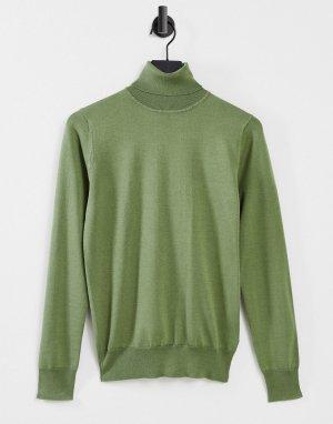 Облегающая эластичная водолазка Premium-Зеленый цвет Gianni Feraud