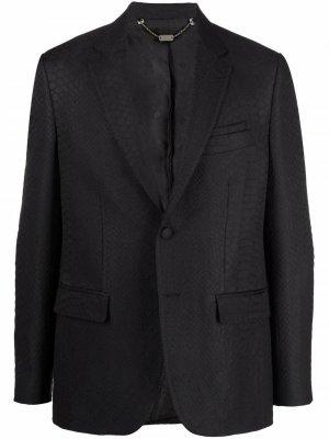 Жаккардовый пиджак с крокодиловым узором Billionaire. Цвет: черный