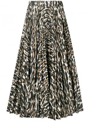 Расклешенная юбка с леопардовым принтом Calvin Klein 205W39nyc. Цвет: коричневый