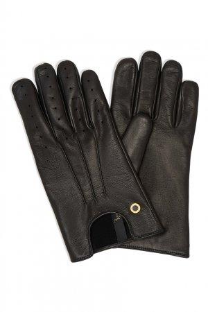 Короткие кожаные перчатки с перфорацией Billionaire. Цвет: черный