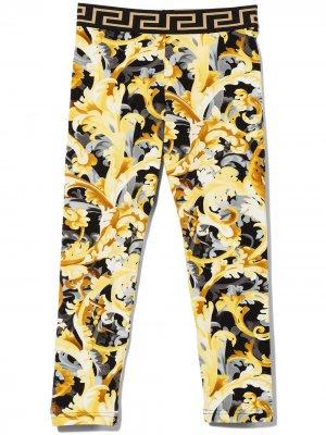 Barocco print high-waisted leggings Versace Kids. Цвет: черный
