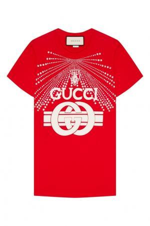 Красная футболка с кристаллами Gucci. Цвет: красный