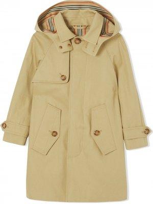 Пальто с капюшоном Burberry Kids. Цвет: нейтральные цвета