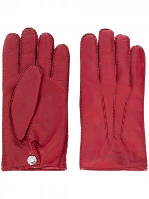 Перчатки с тисненым логотипом Alexander McQueen. Цвет: красный