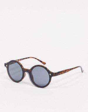 Коричневые круглые солнцезащитные очки без оправы -Коричневый цвет AJ Morgan