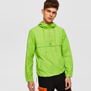 Мужская неоновая зеленая куртка анорак на кулиске с молнией SHEIN. Цвет: зелёные яркий