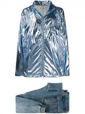 Комплект из блестящей куртки и зауженных джинсов Juun.J. Цвет: синий