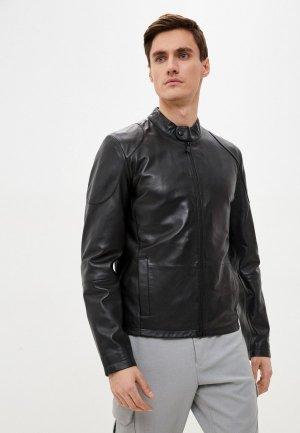 Куртка кожаная Trussardi Jeans. Цвет: черный