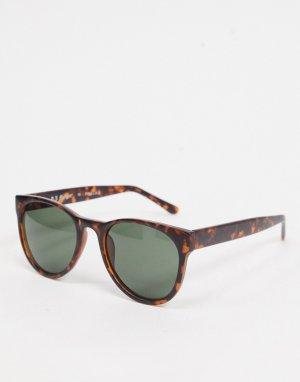 Круглые солнцезащитные очки в матовой черепаховой оправе -Коричневый цвет AJ Morgan